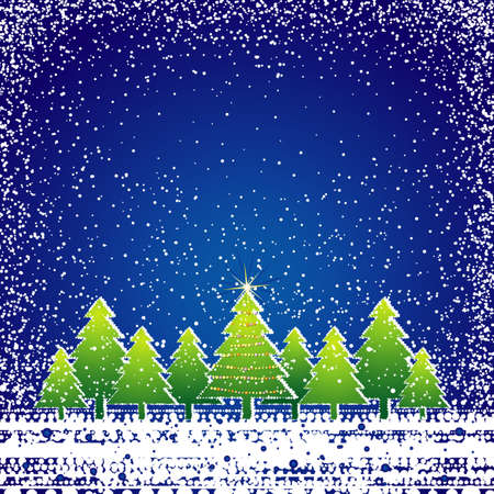 brilliancy: christmas card  with forest of pine and snowflakes, vector illustration