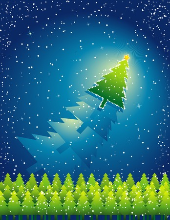 tree trimming: christmas card  with forest of pine and snowflakes, vector illustration