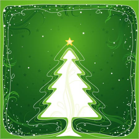 christmas card  with one tree and many stars, vector illustration Stock Vector - 1805876