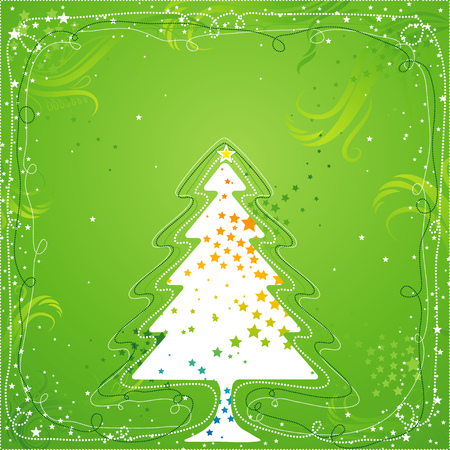 brilliancy: christmas card  with one tree and many stars, vector illustration