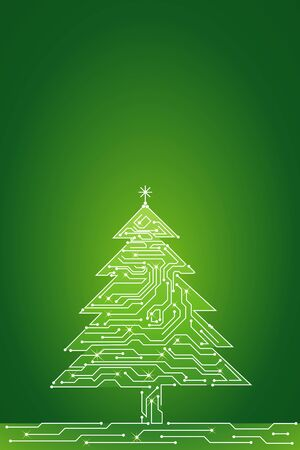 christmas tree  made of electronics elements, vector illustration Illustration