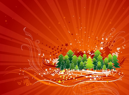 tree trimming: christmas card  with forest of pine and snowflakes in the red sky, vector illustration Illustration