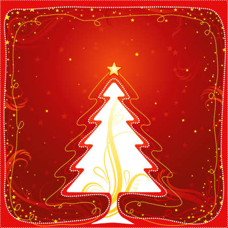 christmas card  with one tree and many stars, vector illustration Stock Vector - 1921520
