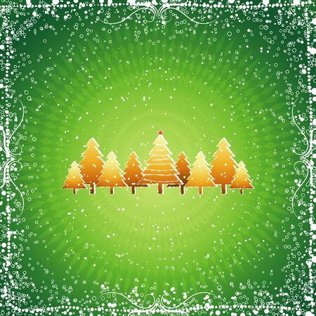 christmas card with tree and snow, vector Stock Vector - 1921525