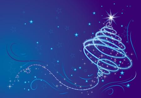 Shining christmas tree, vector illustration Illustration