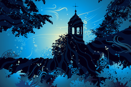 night landscape with church, vector illustration Stock Vector - 1989720