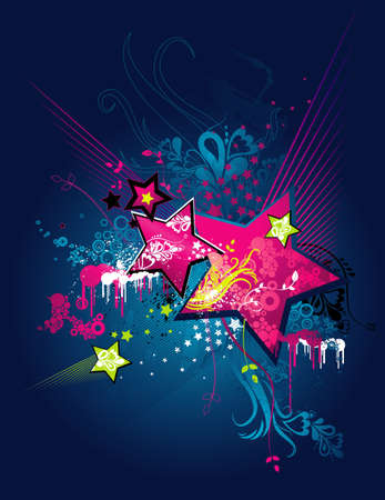 grunge background with pink stars, floral, ornament, lines and splashes, vector illustration