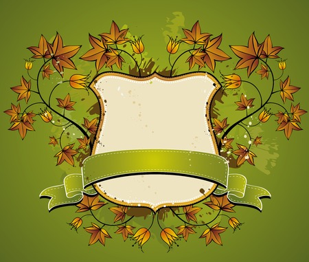 shield, green ribbon and decorative elements,vector illustration Vector