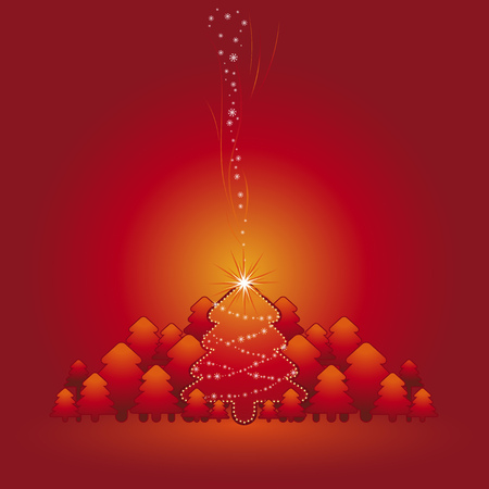 lustre: christmas card  with forest of pine and snowflakes in the red  background, vector illustration