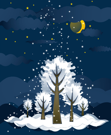 green christmas forest with snowflakes,vector illustration Vector