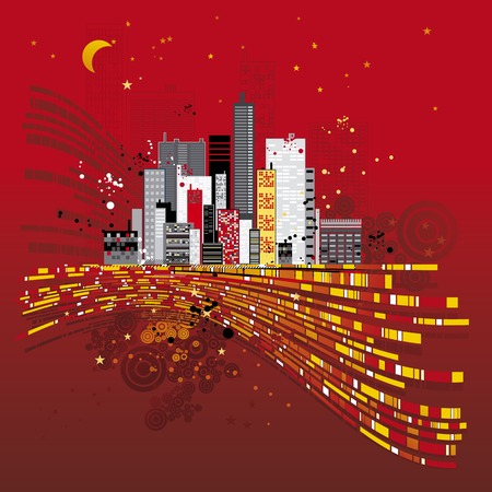 Modern urban red background, vector illustration Stock Vector - 1989707
