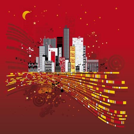 Modern urban red background, vector illustration Stock Vector - 1989707