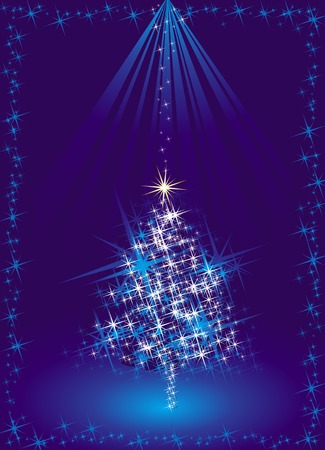 blue christmas tree, vector illustration Stock Vector - 1989692