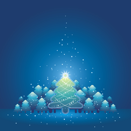 christmas card with forest of pine and snowflakes in the blue background, vector illustration