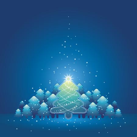 Kerst kaart met een bos van dennen en sneeuw in de blauwe achtergrond, vector illustratie