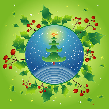 alder: Christmas green tree with holly,vector illustration