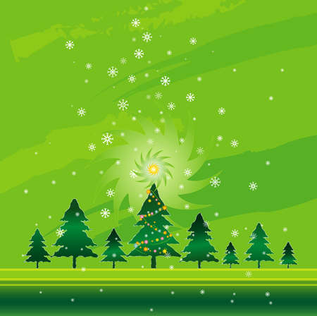 Christmas night in the pine forest Vector