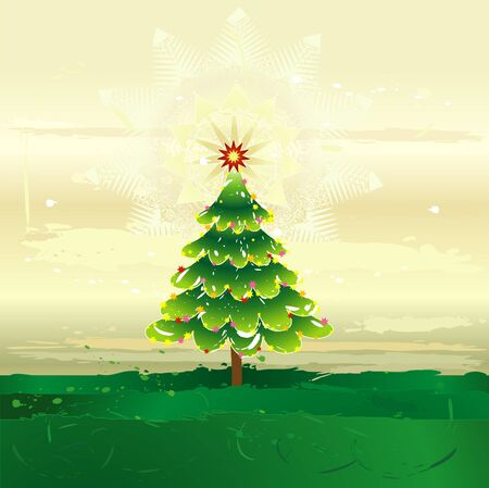 Christmas tree on the grunge background,vector illustration Vettoriali