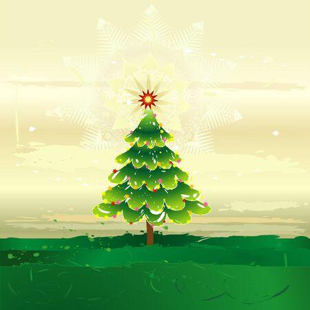 alder: Christmas tree on the grunge background,vector illustration Illustration