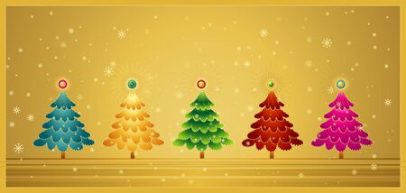 five christmas tree on the golden  background Vector