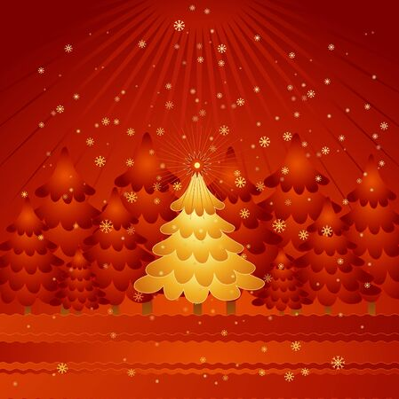 golden christmas tree in the red forest,vector illustration Vector