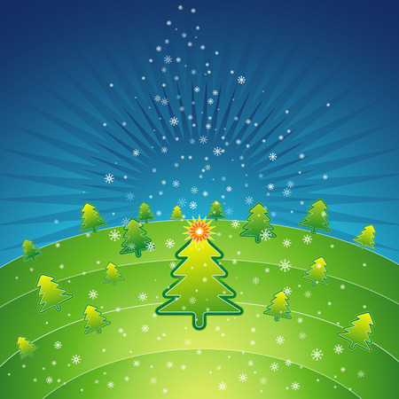 tree trimming: green christmas with forest of pine and snowflakes in the sky