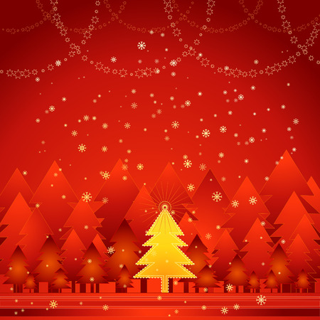 Golden christmas tree in the red forest Stock Vector - 1989716