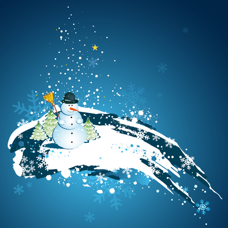 christmas card with snowman, vector Vector