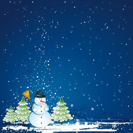 christmas card with snowman, vector Vector