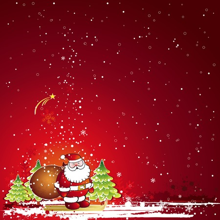 christmas card  with Santa Claus and snowflakes in the red sky, vector illustration Vector