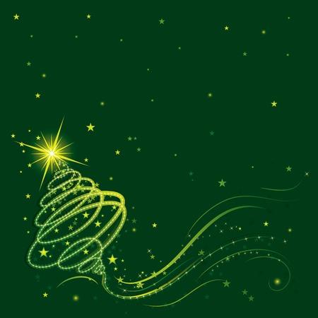 shining christmas tree, vector illustration