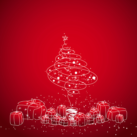 christmas tree and gifts, vector Vector