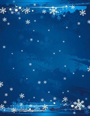 blue grunge christmas background, vector illustration