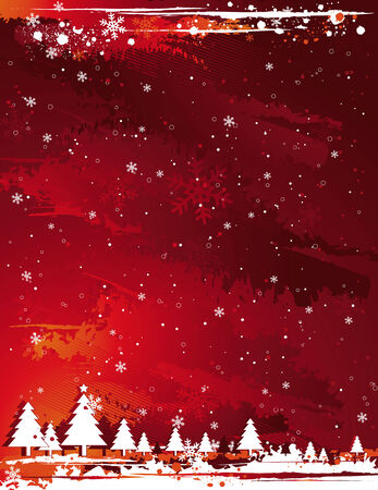 red grunge christmas background, vector illustration Stock Vector - 2044835