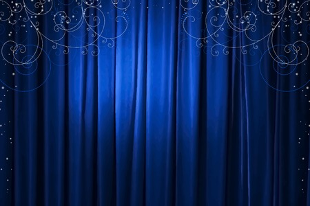 blue curtain with decorative ornaments and snowflakes, vector illustration Vector