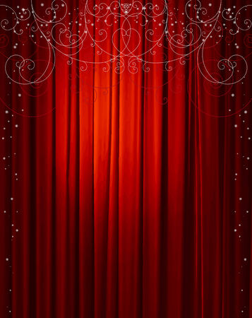 red curtain with decorative ornaments and snowflakes, vector illustration