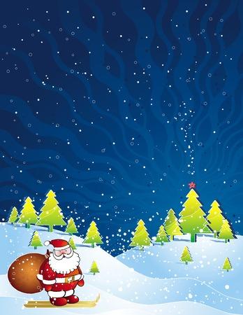 alder: christmas card with Santa Claus, vector