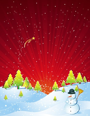 alder: christmas card  with forest of pine,snowman and snowflakes in the red sky, vector illustration Illustration