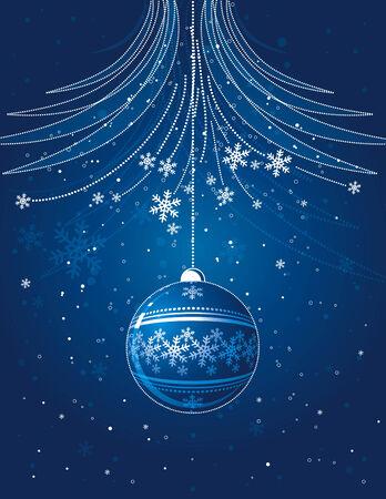 blue christmas card with  ball, vector Vector