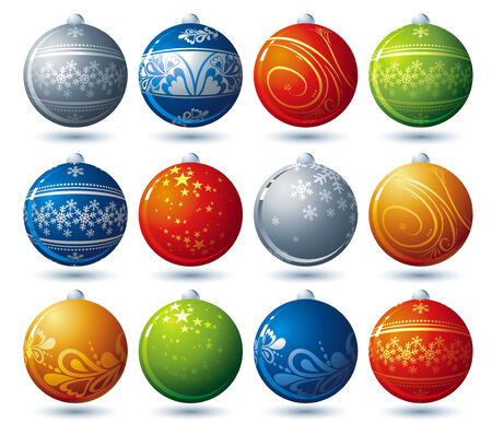 twelve  christmas ball, vector illustration