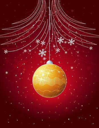 red christmas card with golden  ball, vector Vector