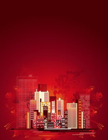 Modern urban background over red floral background, vector illustration Vector
