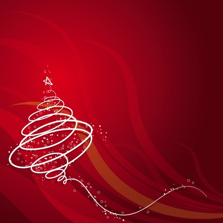 brilliancy: christmas tree on red background, vector illustration