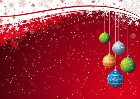 red christmas background with christmas  ball, vector Vector