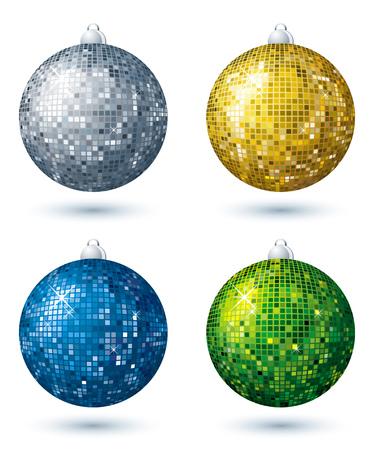vier kerstmis disco bal over een witte achtergrond, de vector