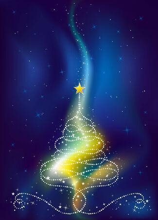 christmas tree on  dark blue background, vector illustration Vector