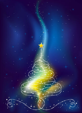 christmas tree on  dark blue background, vector illustration Vector