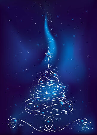 brilliancy: christmas tree on  dark blue background, vector illustration