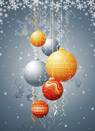 silver  card with christmas balls, vector illustration Vector