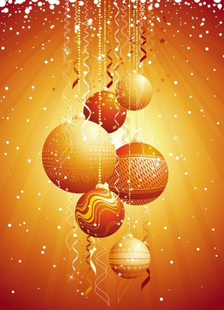 festoon: golden card with christmas balls, vector illustration Illustration